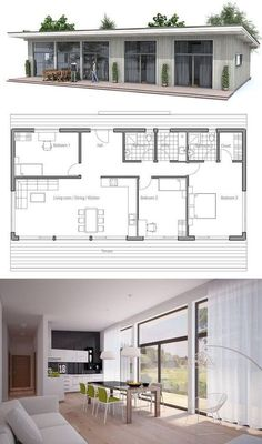 apartment floor plans Small House Plan with affordable building budget. Floor Plan from House Plans One Story, Modern House Plans, Small House Plans, House Floor Plans, Simple Home Plans, Open Concept House Plans, Bungalow Floor Plans, Small House Living, Small Bungalow