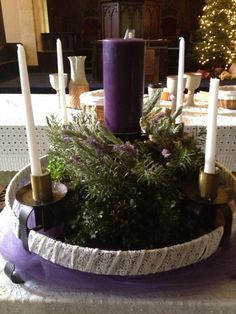 Advent wreath of lavender, rosemary, boxwood