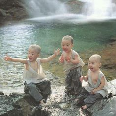 Baby monks playing water in hot Summer. So cute!