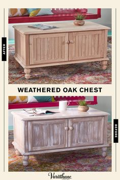 Varathane Premium Fast Dry Wood Stain creates an antiquing finish on this unfinished wood blanket chest. Diy Projects Cans, Home Projects, Distressed Furniture, Repurposed Furniture, Paint Furniture, Furniture Makeover, Modern Farmhouse, Farmhouse Decor, Diy Wood Stain
