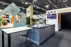 Our display kitchen at the Auckland Home Show Auckland, Kitchen Island, Display, Home Decor, Island Kitchen, Floor Space, Decoration Home, Billboard, Room Decor