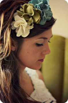 Custom Peony Headband (Adult) - Choose from Moss, Ivory, Spruce, or Mustard Fabric Flowers. $15.00, via Etsy.