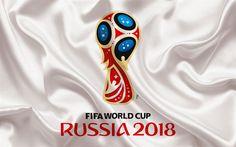 Lataa kuva 2018 FIFA World Cup, Venäjä 2018, tunnus, logo, jalkapallo, valkoinen silkki, Venäjä