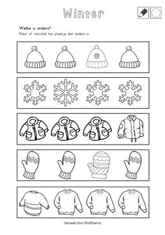 Welke is anders? - Kleur of omcirkel het plaatje dat anders is. Winter Activities For Kids, Creative Activities For Kids, Educational Activities For Kids, Preschool Pictures, Preschool Themes, Kindergarten Math Worksheets, Kindergarten Writing, Christmas Worksheets, Winter Theme