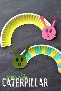 Super easy paper plate caterpillars! Perfect spring craft for toddlers!