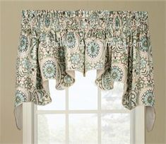 Paisley Prism Duchess Swag -bathroom or kitchen curtains with a teal blue and chocolate brown color with pinwheel design