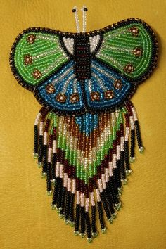 Sold This Beautiful Beaded Butterfly Hair Clip With Beaded Fringe. #Beadwork #Jewelry #Hairclip