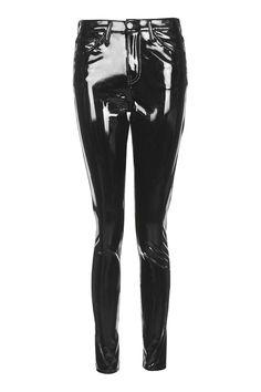 MOTO Black Vinyl Jamie Jeans - Topshop