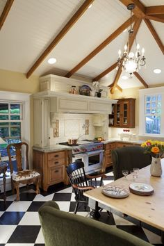 I love the way this stove hearth is done with the counter space on each side of the stove.l