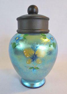 FENTON Art Glass Urn-Black Iridescent Blue BUTTERFLIES-Signed D Frederick