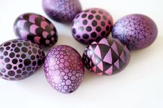 "Pink-lila Ombre-Ostereier mit geometrischen Mustern / Pink and purple ombre easter eggs with geometrical patterns - ""Fee ist mein Name"""