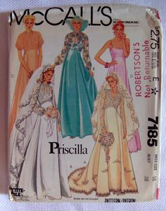 1980s McCalls 7185 Vintage Sewing Pattern Misses Bridal and Bridesmaids Gowns Size 16. $6.00, via Etsy.
