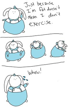 fat bunny, comic, cartoon, exercise, work out, sweat