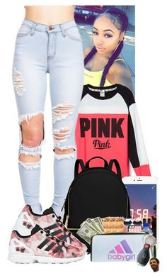 """""""Pink . """" by abriannaj ❤ liked on Polyvore featuring moda, Victoria's Secret, MICHAEL Michael Kors y adidas Originals"""