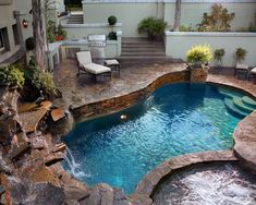 Would like to see more edge around the spa tiny tropical for Pool design kg