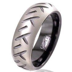 This is the one!!!     Dome Profile Zirconium Wedding Ring with Motorbike Tread Detaill - Men's Partner Zirconium Rings Wedding