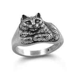 Silver Cat Ring Smiling Cat