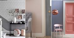 If you're looking for subtle, understated décor with a generous dose of sophistication, opt for a classic grey and dusky-pink colour scheme. One of the few home. Dado Rail Hallway, Grey Hall, Pink Color Schemes, Gray Interior, Home Trends, Pink Grey, Color Inspiration, Tall Cabinet Storage, New Homes