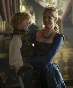 """Joely Richardson as Catherine Parr with Prince Edward in """"The Tudors"""" (2010). Joely Richardson is the daughter of Vanessa Redgrave, who played Anne Boleyn in """"A Man for All Seasons"""" (1966)"""