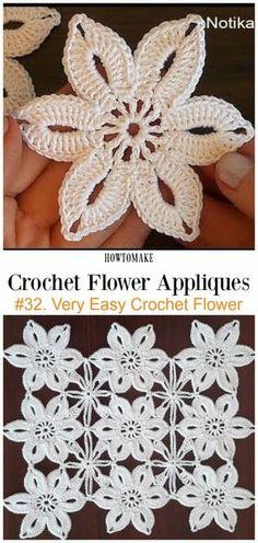 Very Easy Crochet Flower Free Crochet Pattern Video -Easy #Crochet #Flower Appliques Free Patterns