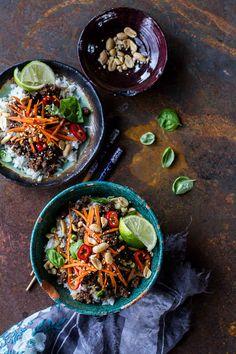 20-Minute Thai Basil Beef Rice Bowls