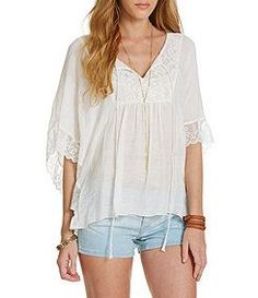 Soulmates Lace-Inset Circle Top rayon/cotton