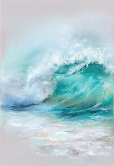 Contemporary watercolor painting of a big wave in the ocean. Wave Wall Art by Sophia Rodionov from Great BIG Canvas.Contemporary watercolor painting of a big wave in the ocean. Wave Wall Art by Sophia Rodionov from Great BIG Canvas. Seascape Paintings, Watercolor Paintings, Pastel Paintings, Painting Art, Beach Paintings, Pastel Artwork, Watercolours, Body Painting, Landscape Paintings