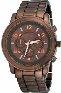 Geneva #1311 Women's Bronze Metal Band Oversize Faux 3 Dial Runway Style Watch Geneva. $17.97. Case Size:  45mm Diameter, 13.6mm Thickness. Precise Japan Quartz Movement. Stainless Steel Case Back, Push Button Release Clasp. Mineral Crystal, 3 Dial Chronograph Look. Save 40% Off!