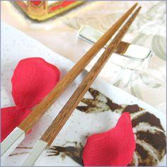 """rustic"" chopsticks again! Apparently giving chopsticks as a favor is good luck"