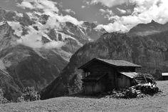 """Swiss Alpine Cabin Vista, Overlooking Stechelberg Village, From Mürren, Lauterbrunnental (Lauterbrunnen Valley), Interlaken-Oberhasli District, Canton of Bern, Switzerland"""