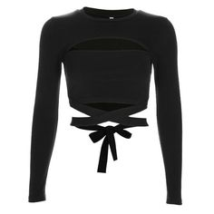 Hollow Out Waist Cross Cotton Long Sleeve Crop Tees Women Streetwear ONeck Skinny Skinny TShirt Teen Fashion Outfits, Girl Fashion, Fashion Looks, Fashion Design, Long Sleeve Tee Shirts, Long Sleeve Crop Top, Cropped Top, Shirt Sleeves, Tied T Shirt