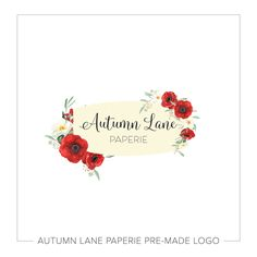 This listing is for a customizable pre-made Red Poppy Floral Logo H79. Put your company's name on it today!