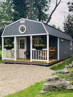 Shed To Tiny House, Tiny House Cabin, Tiny House Living, Tiny House Plans, Tiny House Design, Tin House, Home Hair Salons, Home Salon, Backyard Sheds