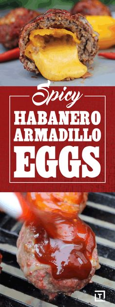 "We are stuffing cheddar cheese into habanero peppers, covering them with beef, wrapping them in bacon, and sprinkling on some BBQ rub to make these spicy habanero armadillo eggs. Finish 'em off with a quick BBQ sauce glaze and grill them for a spicy, cheese-oozing ""egg""."