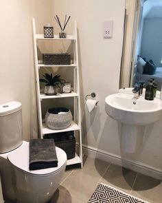 The post 28 Impressive Bathroom Storage Ideas Smart Solution Big Impact! appeared first on Badezimmer ideen. Small Bathroom Storage, Bathroom Organisation, Small Storage, Organization Ideas, Bathroom Ladder Shelf, Bathroom Storage Solutions, Toilet Storage, Diy Storage, Kitchen Storage