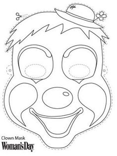 Woman's Day has a Halloween Clown Mask that can be done in just a few minutes. Halloween Clown, Halloween Themes, Halloween Crafts, Clown Crafts, Circus Crafts, Coloring Book Pages, Printable Coloring Pages, Clown Maske, Printable Masks