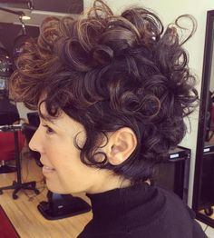 Long Curly Pixie With Babylights