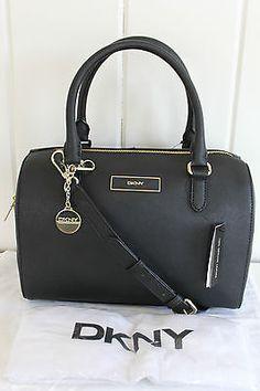 NWT New DKNY Donna Karan Saffiano Leather Satchel Bag Black MSRP: $295