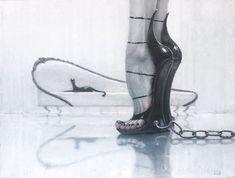 """Glamour"". 2017. Oil #painting on canvas by Marina #Khlebnikova. #high_heels #oilpainting #blackwhite #живопись #холст_масло #монохромная_живопись"