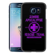 Samsung Galaxy S6 Edge Zombie Apocalypse 2012 Rescue Team Purple on Black Slim Case