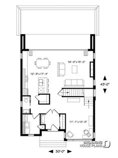 Discover the plan - Essex 3 from the Drummond House Plans house collection. Contemporary Modern home design, 3 bedrooms, pantry & kitchen island, home office, laundry room on main. Vestibule, Minimalist House Design, Modern House Design, Plan Chalet, Drummond House Plans, Model House Plan, Modern Contemporary Homes, Roof Plan, Garage Plans