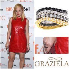 The talented Elizabeth Moss attended the 2015 Toronto International Film Festival in a few of our Wave Bands.  These fabulous stackable rings are a great way to make a personalized statement.  #elizabethmoss #madmen #grazielagems #wavebands #waveband #stackablerings #celebritystyle #celebrityjewelry #celebrity #fashionjewelry
