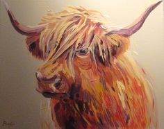 Highland Cow acrylic 50 x 40 canvas, background colour - soft truffle www.bretthudsonart.com