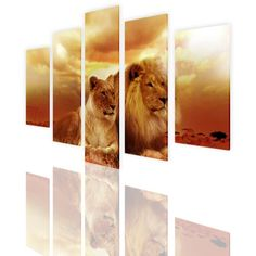 Alonline Art - Safari Lions In Sunset Split 5 Panels PRINT On CANVAS (100% Cotton, UNFRAMED Unmounted) 47'x31' - 118x79cm 5 Panels Combination Artwork Oil Painting Printed On Canvas Wall Decor >>> See this great product. (This is an affiliate link and I receive a commission for the sales)