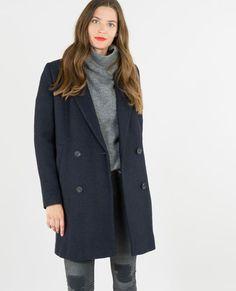 Manteau droit drap de laine bleu marine