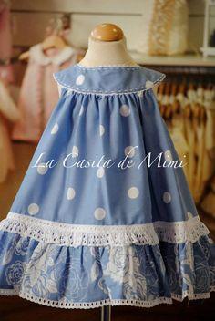 Love this very full, round yoke dress Kids Dress Wear, Little Dresses, Little Girl Dresses, Cute Dresses, Girls Dresses, Toddler Dress, Toddler Outfits, Baby Dress, Little Girl Fashion