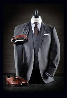 mens_fashion - Curated Fall Looks [Original Content] Sharp Dressed Man, Well Dressed Men, Mode Masculine, Mens Fashion Suits, Mens Suits, Grey Suits, Men's Fashion, Terno Slim, Mode Costume