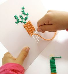 Image result for sewing with cross stitch for 5 yo children
