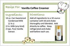 VANILLA COFFEE CREAMER Recipes - CREATING A SIMPLER LIFE