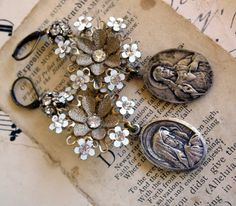 Lilies of the Field Vintage Assemblage Earrings by HollywoodHillbilly
